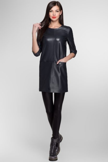 Модные образы осень-зима 2018: платье кожаное прямое