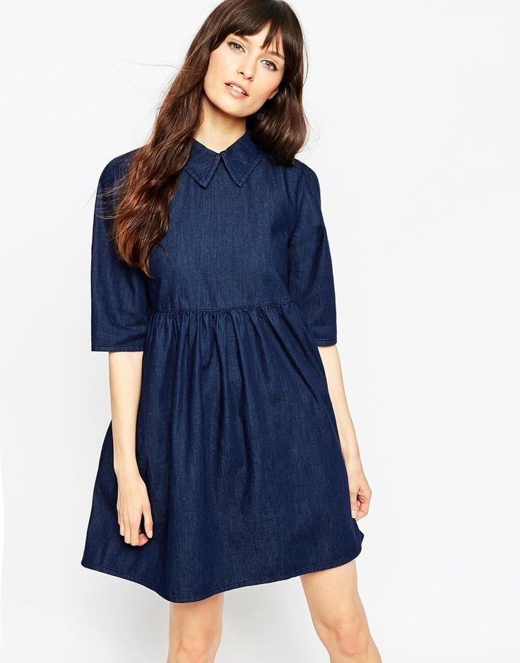 Модные образы осень-зима 2018: платье беби долл синее рукава короткие