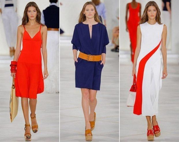 Модные образы весна лето 2018: платья красное синее белое миди лето