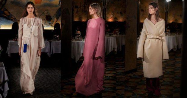 Модные образы весна лето 2018: платье длинное светлое розовое под пояс