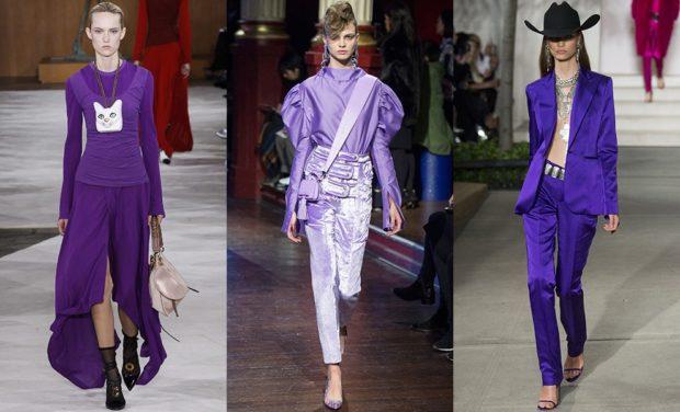 Модные образы весна лето 2018: сиреневые комплекты штаны пиджаки