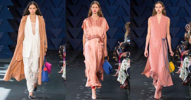 Модные образы весна лето 2018: розовые платье длинное летнее плащ коричневый светлый