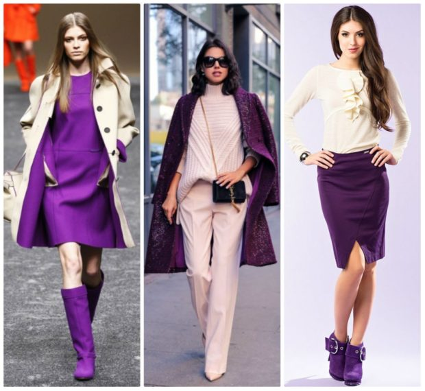 Модные образы весна лето 2018: платье фиолетовое пальто фиолетовое юбка карандаш