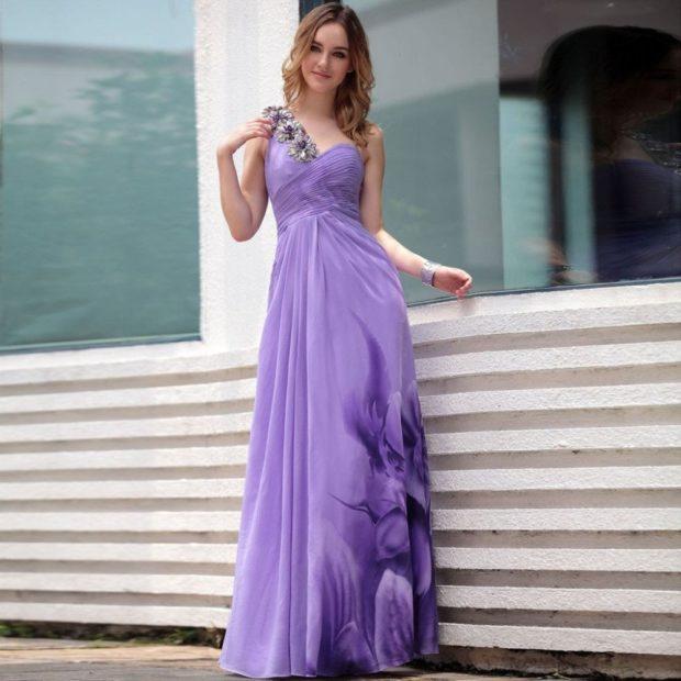 Модные образы весна лето 2018: платье сиреневое шифоновое