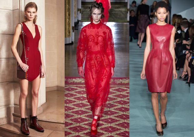 Модные образы весна лето 2018: платье короткое красное длинное кружевное кожаное с поясом