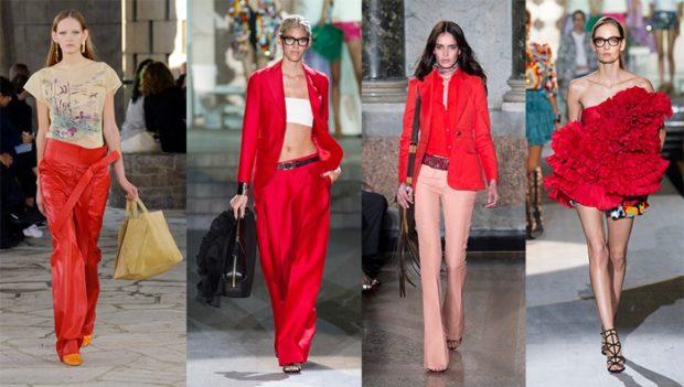 Модные образы весна лето 2018: брюки красные костюм красный пиджак красный топ с воланами