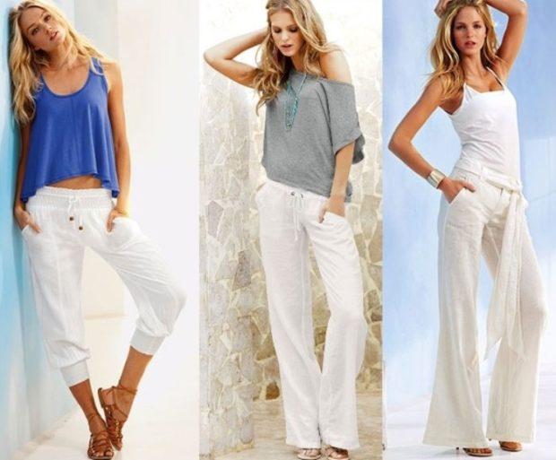 Модные образы весна лето 2018: белые бриджи брюки майки