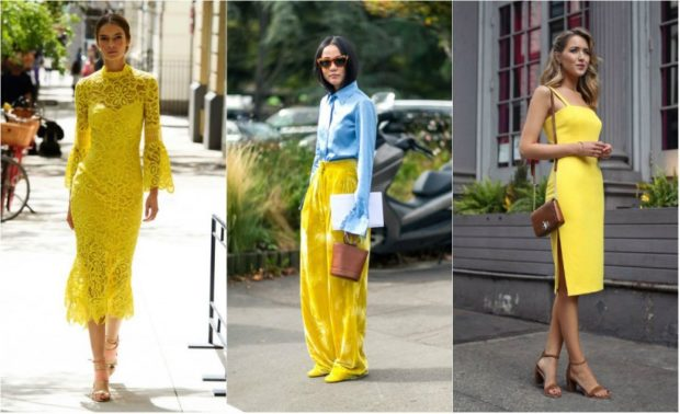 Модные образы весна лето 2018: платье кружевное миди желтое штаны широкие платье офисное желтое
