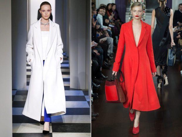 Модные образы весна лето 2018: пальто длинное белое красное приталенное