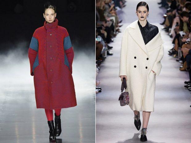 Модные образы весна лето 2018: пальто красное с синим белое прямой крой