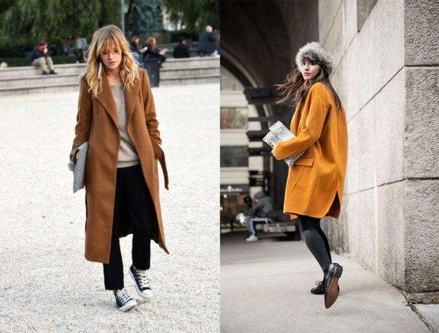 Модные образы весна лето 2018: пальто коричневое длинное желтое короткое