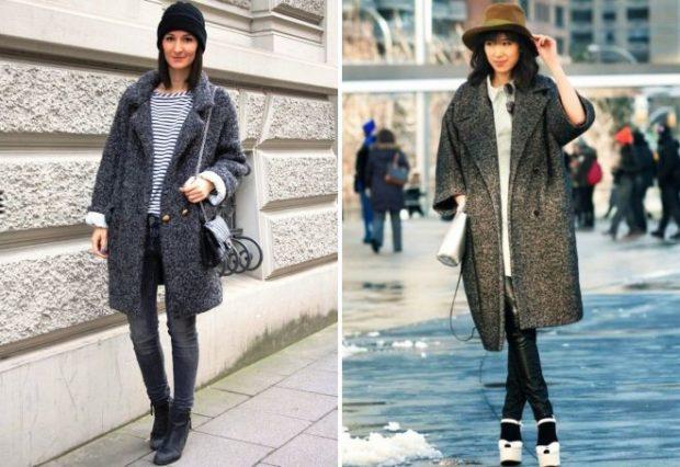 Модные образы весна лето 2018: пальто серое оверсайз