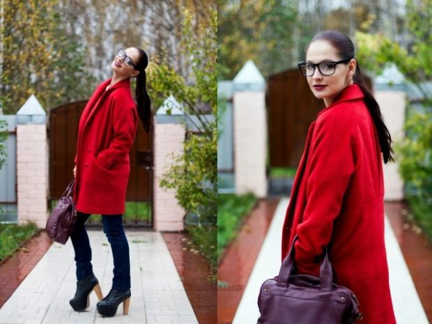 Модные образы весна лето 2018: красное пальто оверсайз