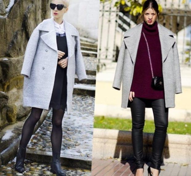 Модные образы весна лето 2018: пальто голубое оверсайз короткое