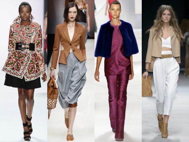 Модные образы весна лето 2018: жакеты в принт коричневый синий бежевый