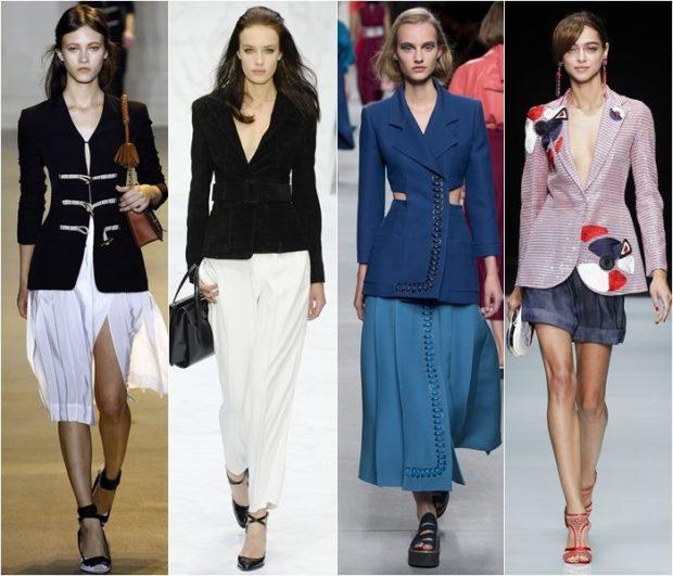 Модные образы весна лето 2018: жакеты черный синий светлый приталенные