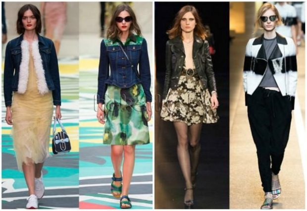 Модные образы весна лето 2018: жакеты с мехом джинсовые черный белый с черным