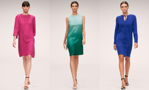 Модные образы весна лето 2018: платье выше коленое розовое зеленое синее