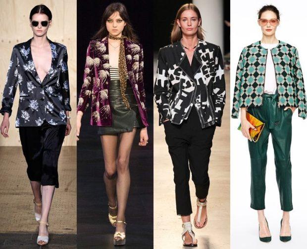 Модные образы весна лето 2018: жакеты в принт черный бордо черный зеленый
