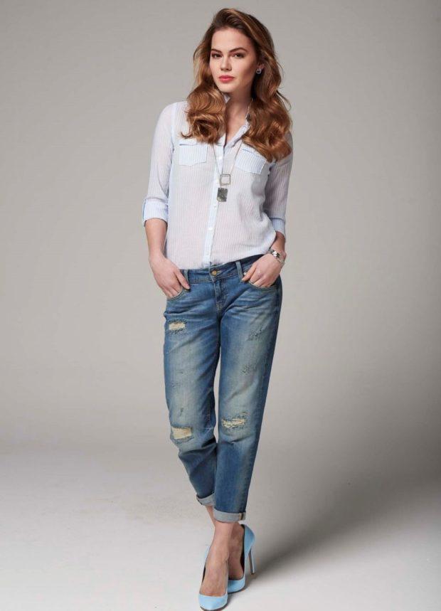 джинсы короткие с дырками