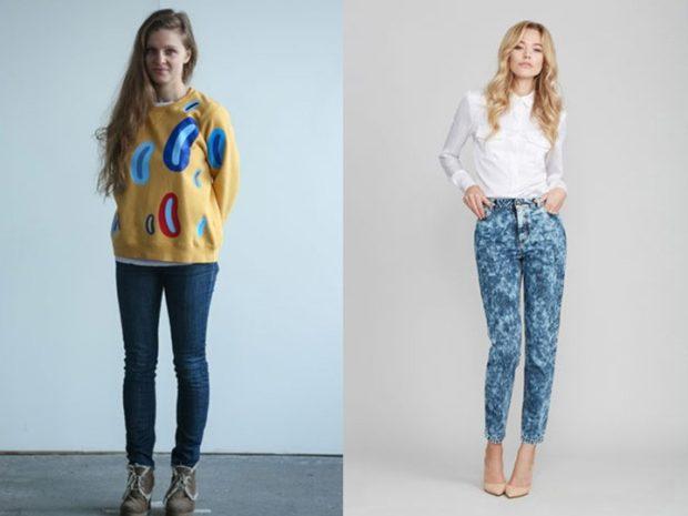 Модные образы весна лето 2018: джинсы синие простые короткие в разводы