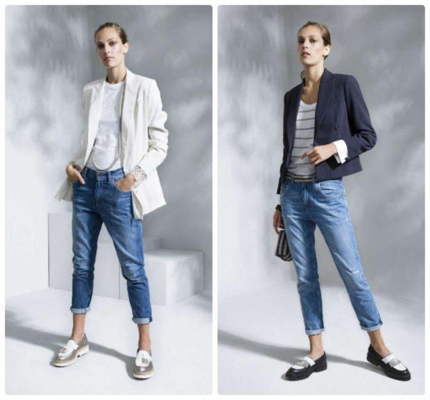 Модные образы весна лето 2018: джинсы короткие синие