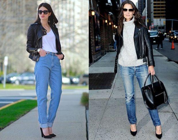 Модные образы весна лето 2018: джинсы высокая талия голубые классика синие потертые