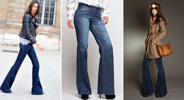 Модные образы весна лето 2018: джинсы клеша синие