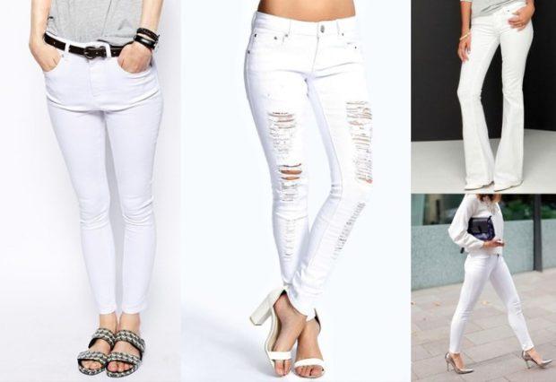 Модные образы весна лето 2018: джинсы белые простые с разрезами клеша