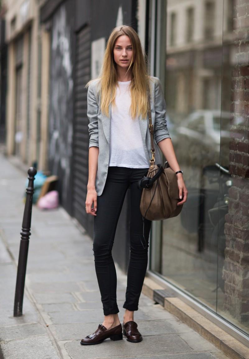 Модные образы весна лето 2018: джинсы черные прямые