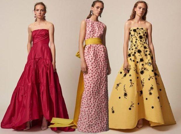 Модные образы весна лето 2018: платья длинные красное в горошек желтое