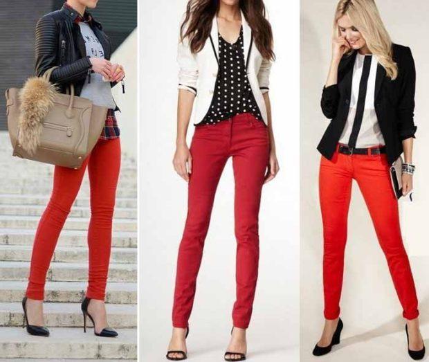 Модные образы весна лето 2018: джинсы красные зауженные