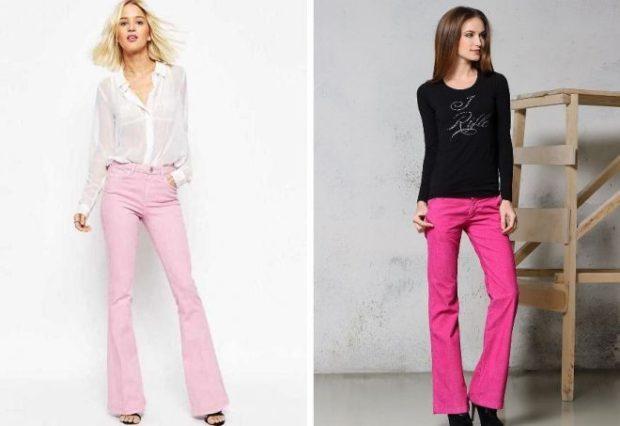 Модные образы весна лето 2018: джинсы розовые клеша