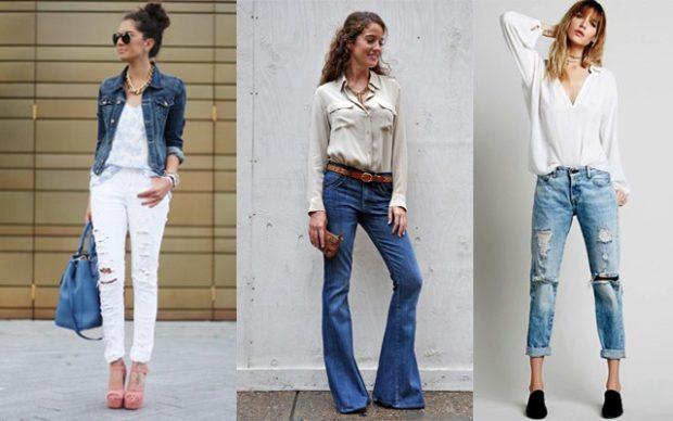 Модные образы весна лето 2018: джинсы белые синие клеша голубые короткие