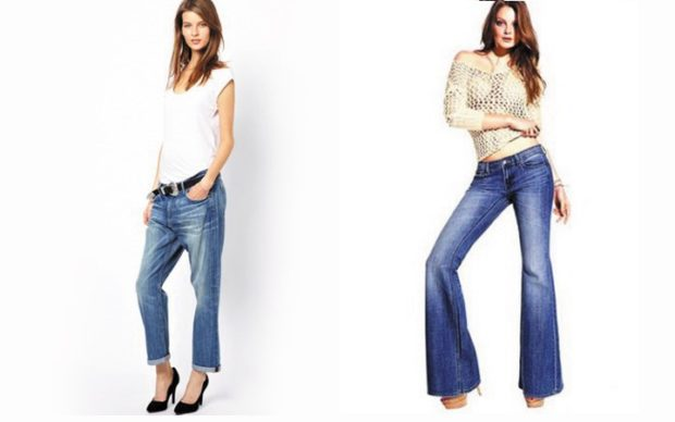 Модные образы весна лето 2018: джинсы синие короткие синие клеш