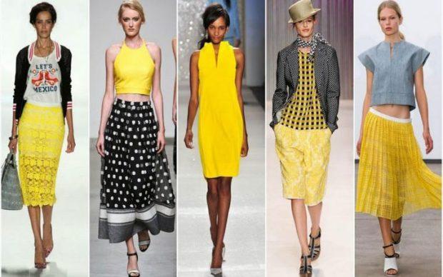 Модные образы весна лето 2018: юбка желтая черная лето миди