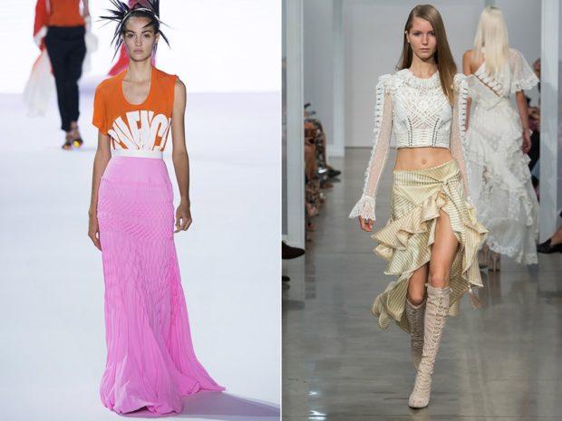 Модные образы весна лето 2018: розовая в по юбка с воланами