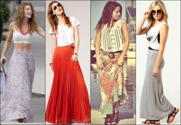 Модные образы весна лето 2018: юбки в пол светлая красна в принт серая