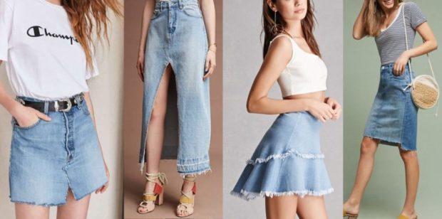 Модные образы весна лето 2018: юбки джинсовые короткие миди с воланами