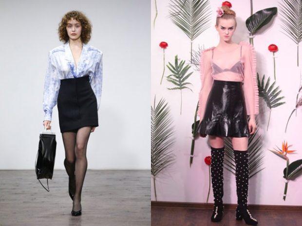 Модные образы весна лето 2018: юбка черная высокая талия черная кожаная