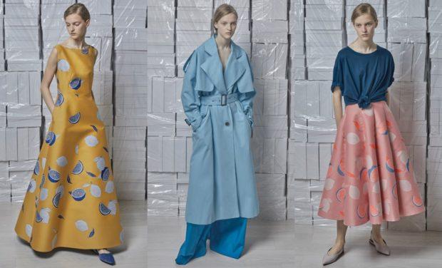 Модные образы весна лето 2018: платье в горох длинное плащ голубой юбка миди широкая