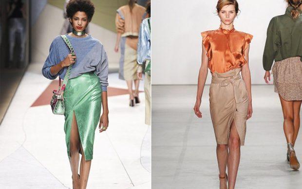 Модные образы весна лето 2018: юбка карандаш зеленая светла разрезом