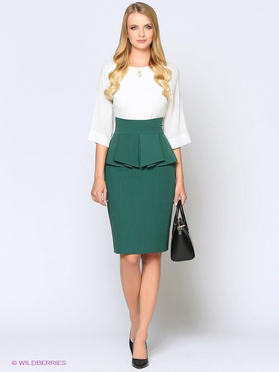 Модные образы весна лето 2018: юбка с баской зеленая