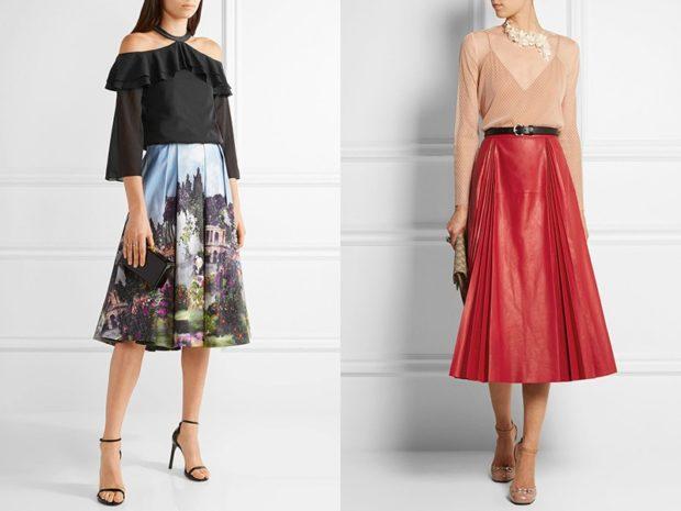 Модные образы весна лето 2018: юбки по колено в принт красная