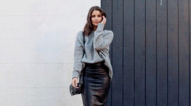 Модные образы весна лето 2018: юбка кожаная карандаш