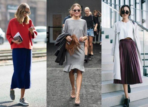 Модные образы весна лето 2018: юбка синяя миди серая с воланами бордо клеш
