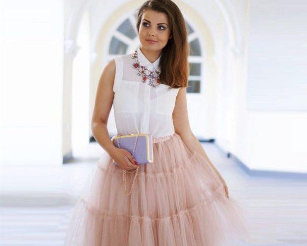 Модные образы весна лето 2018: юбка фатин беж