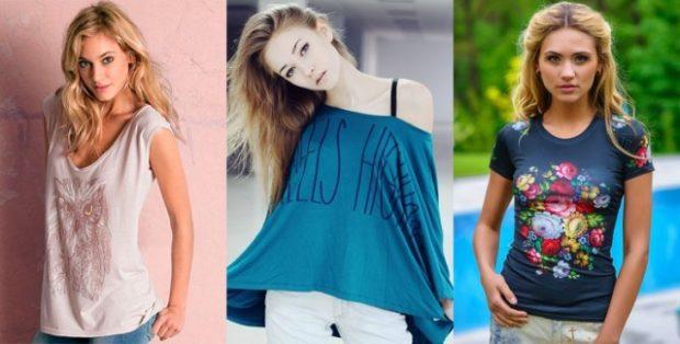 Модные образы весна лето 2018: футболки белая синя с надписями в цветы