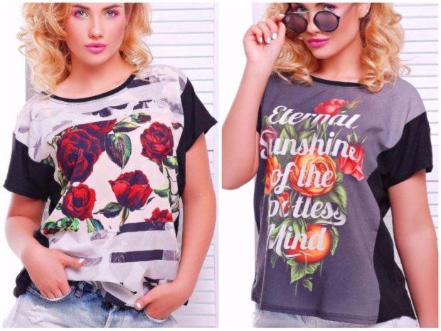 Модные образы весна лето 2018: футболки в цветы с надписями