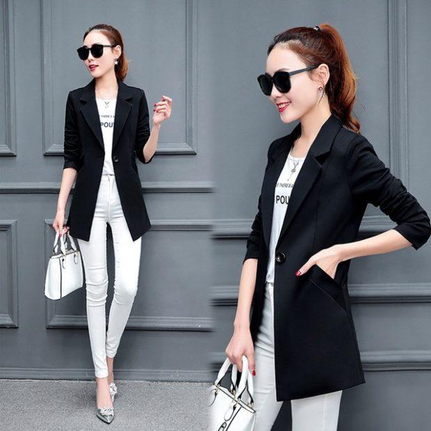 модные пиджаки осень зима 2018 2018: пиджак черный удлиненный